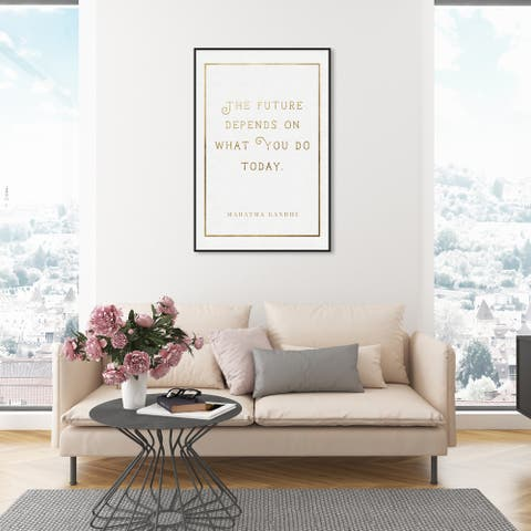 Oliver Gal 'What You Do Today Gold' Typography and Quotes Wall Art Framed Canvas Print Motivational - Gold, White