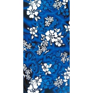 "Island Gear Hawaiian Flowers Towel 30""x60"" Blue/White"