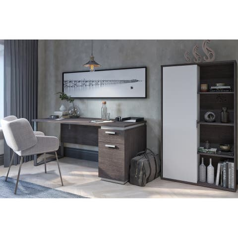 Bestar Aquarius 2-Piece Computer Desk and Bookcase