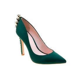 Eleanor Anukam Green Satin Stiletto Pumps