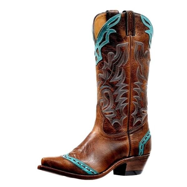 Boulet Western Boots Womens Snip Toe Lacing Overlay Damiana Moka