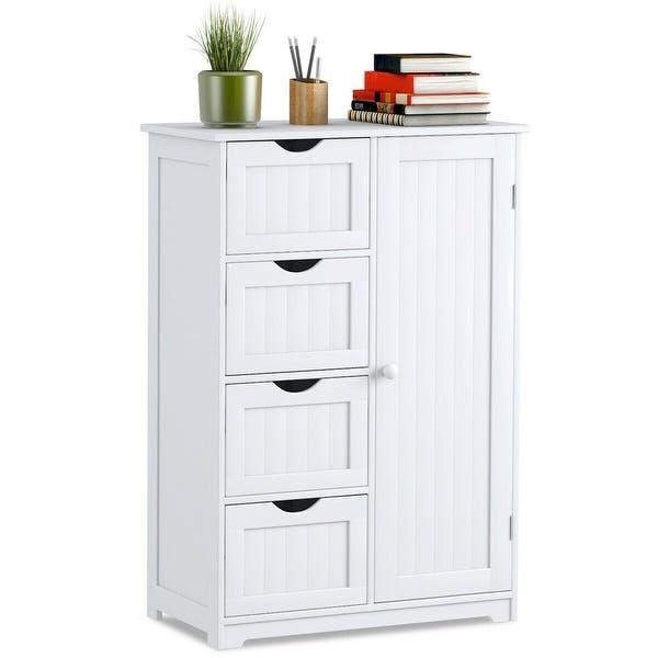 Costway Wooden 4 Drawer Bathroom Cabinet Storage
