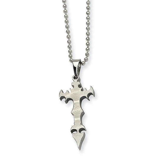 Chisel Stainless Steel Cross Daggar Pendant 22 Inch Necklace (1 mm) - 22 in