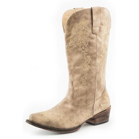 "Roper Western Boots Womens Judith 12"" Shaft Tan"