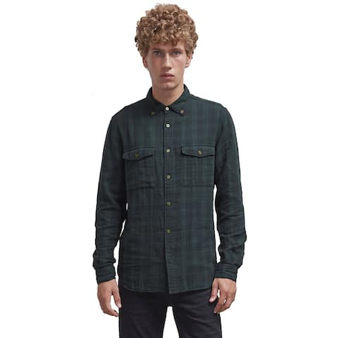 French Connection Mens Blackwatch Double Check Flannel Shirt Small Black