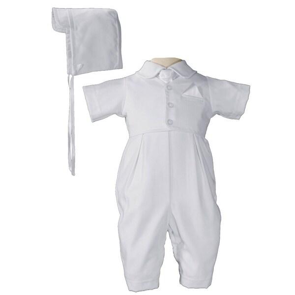 Baby Boys White Vested Gabardine Short Sleeve Christening Outfit