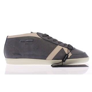 Dolce & Gabbana Dark Gray Leather Logo Sport Sneakers Shoes - 39