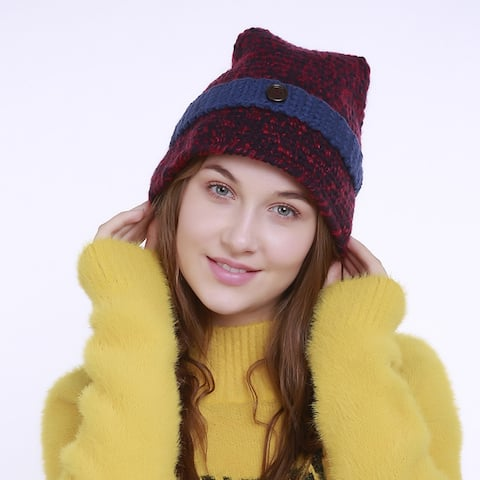 Hand-Woven Wool Color Hat Pointy Witch Hat