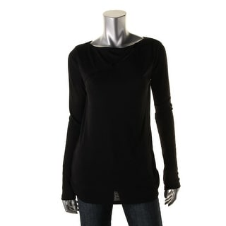 DKNY Jeans Womens Ribbed Knit Cut-Out Pullover Top