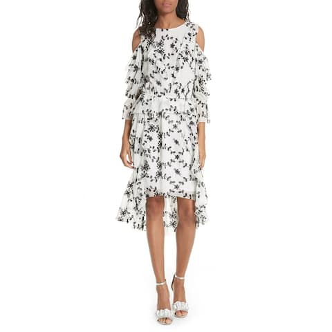 Joie Womens Dress White Size Large L Shift Silk Cold Shoulder Ruffle
