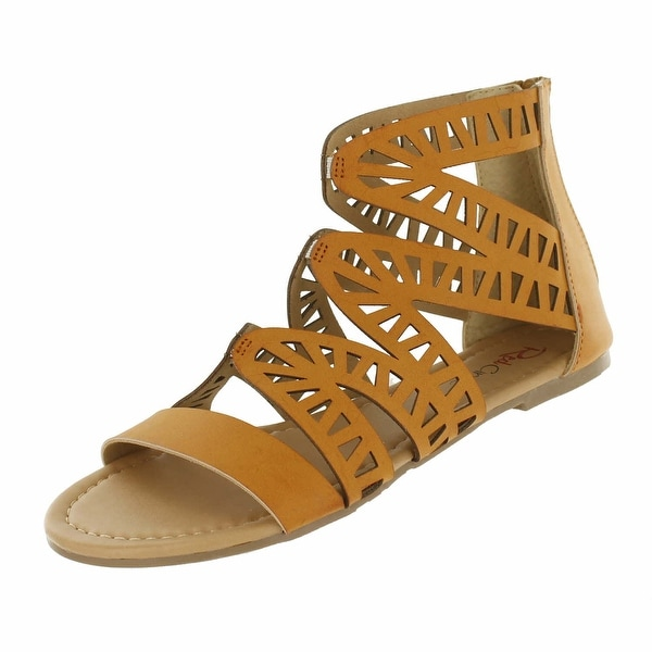 Red Circle Footwear 'Perla' Cognac Gladiator Sandal