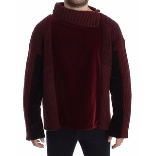 Dolce & Gabbana Dolce & Gabbana Bordeaux Velvet Wool Runway Sweater Pullover