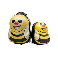 Costway 2Pc 13'' 19'' Kids Luggage Set Suitcase Backpack School Travel Trolley ABS - Yellow