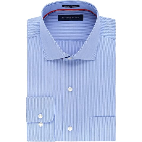 Tommy Hilfiger Mens Big & Tall Dress Shirt Pinstripe Non-Iron - Stream - 22 35/36