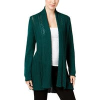 NY Collection Womens Cardigan Sweater Knit Open Front