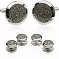 Silver Diamond Dust Tuxedo Cufflinks And Studs - Thumbnail 0
