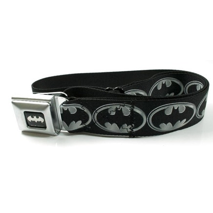Batman Silver Logo Seatbelt Belt-Holds Pants Up