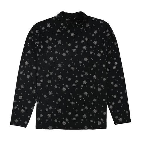 Karen Scott Womens Snowflake Pullover Blouse, black, 2X