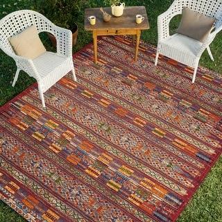 Link to Alexander Home Armanda Modern Tribal Indoor/ Outdoor Area Rug Similar Items in Rugs
