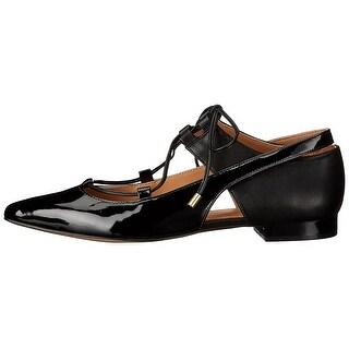 Calvin Klein Womens Evalyn Closed Toe Ankle Wrap Ballet Flats, Black, Size 7.5