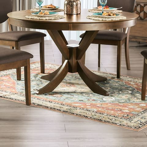 Furniture of America Oskam I Transitional Walnut Round Dining Table
