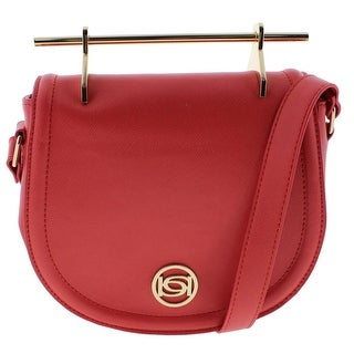 Bebe Womens Lily Faux Leather Crossbody Saddle Handbag - hibiscus red - SMALL