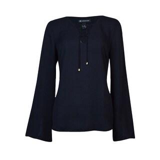 INC International Concepts Women's Lace Up Solid Blouse - Deep Black