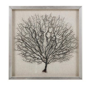 """19.75"""" Koralle Ocean Sea Coral in Silver Shadowbox with Pine Wood Frame"""