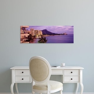 Easy Art Prints Panoramic Images's 'Waikiki Beach, Oahu, Hawaii, USA' Premium Canvas Art