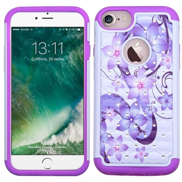 Insten White/ Purple Hibiscus Flower Romance Hard PC/ Silicone Dual Layer Hybrid Rubberized Matte Case Cover For Apple iPhone 7