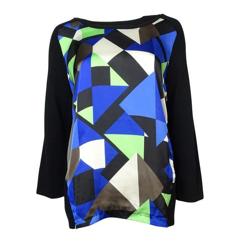 Alfani Women's Geo-Print Satin Hi-Low Sweater - Deep Black Combo