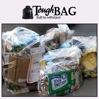 "ToughBag 95 Gallon Trash Bags, 1.5 Mil, Clear, 61""W x 68""H, 25 / Case"