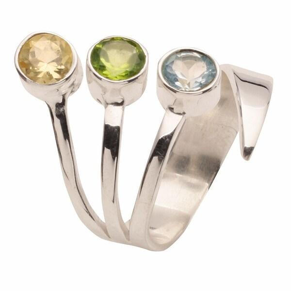Women's Three Gems Adjustable Sterling Silver Ring