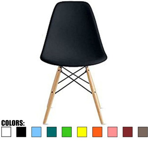 2xhome Designer Plastic Eiffel Chair Natural Wood Legs Retro Dining Armless With Back Desk Accent Living Room Side