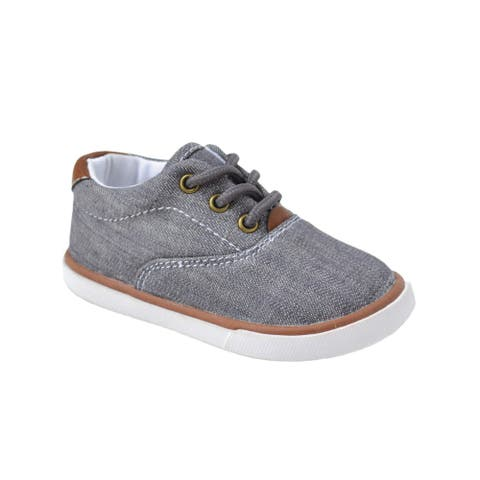 Baby Deer Little Boys Gray Canvas Lace-Up Casual Sneakers