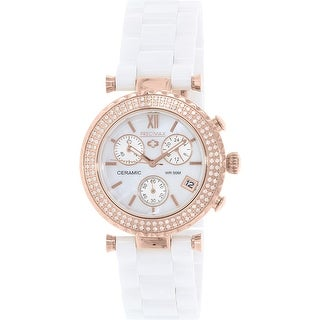 Precimax Women's Lily Elite Crystal PX13191 White Ceramic Quartz Dress Watch