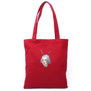 Canvas Girl Pattern Reusable Shoulder Strap Tote Shopping Bag Handbag Red