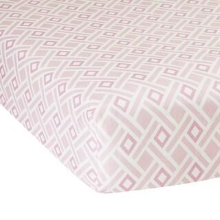 Lambs & Ivy Classic Pink/White Modern Diamond Geometric Print 100% Cotton Sateen Baby Fitted Crib Sheet
