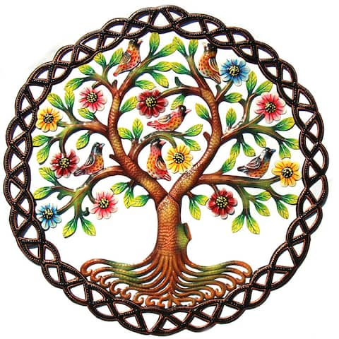 Handmade Painted Rooted Tree of Life Circle Recycled Steel Wall Art