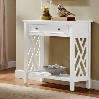 Porch & Den Altadena 32-inch Wood Console Table with Drawer and Shelf