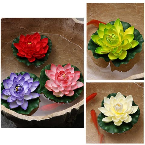Artificial Mini Lotus Fake Flower Aquarium Pool Landscaping Plant Home Dcor