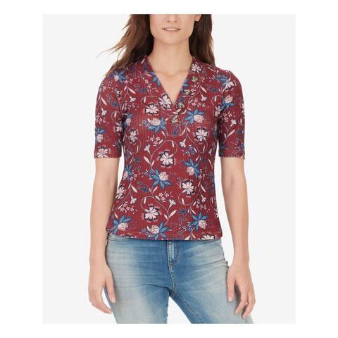 WILLIAM RAST Womens Burgundy Printed Short Sleeve V Neck Top Size M