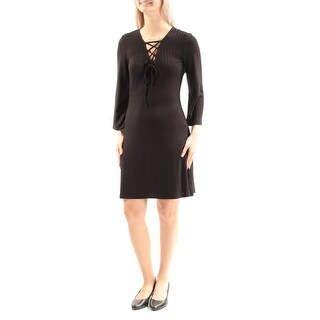 Womens Black Long Sleeve Above The Knee Cocktail Dress Size: S