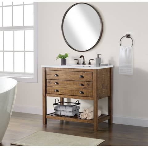 """Monterey 37"""" Bathroom Vanity with Top, Natural Brown by Martin Svensson Home"""