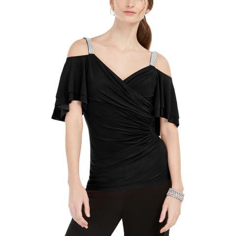 MSK Womens Petites Blouse Embellished Cold Shoulder - Black - PM