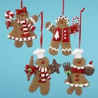 "Club Pack of 12 Gingerbread Kisses Peppermint Boy & Girl Christmas Ornaments 4"" - multi"