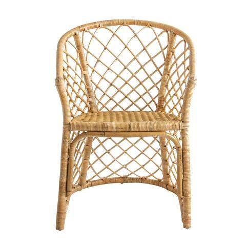 Handwoven Beige Rattan Arm Chair