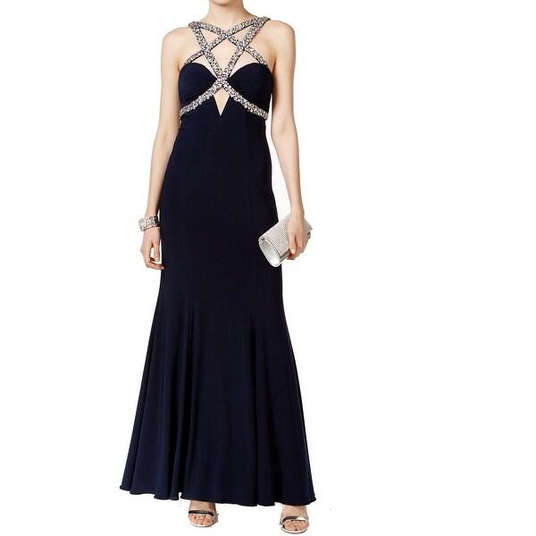 Shop Xscape NEW Navy Blue Women\'s 12 Faux-Gem Criss-Cross Ball Gown ...