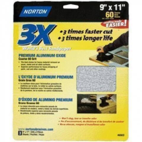 "Norton 02622 3X Sandsheet 9""x11"", 60 Grit"