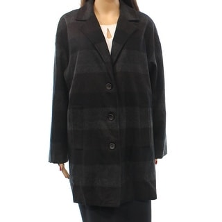 ace delivery NEW Black Women's Size Small S Striped Trench Wool Coat